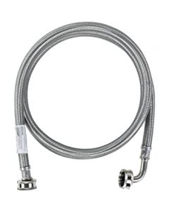 WM72SSL Braided Stainless Steel Washing Machine Hose with Elbow (6ft)
